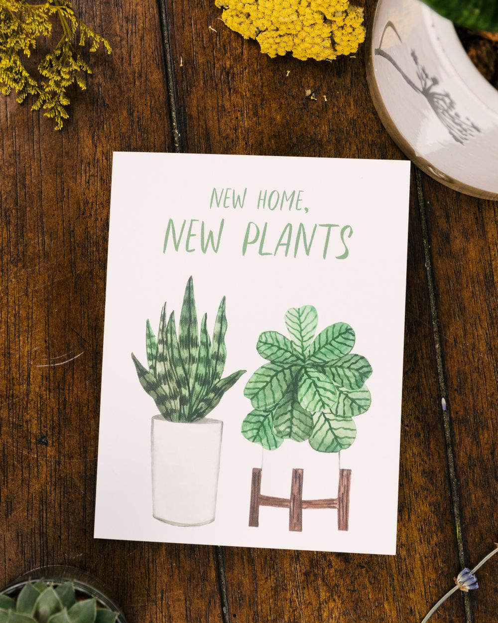 New Home Cute Plants Card Home is Where the Plants Are